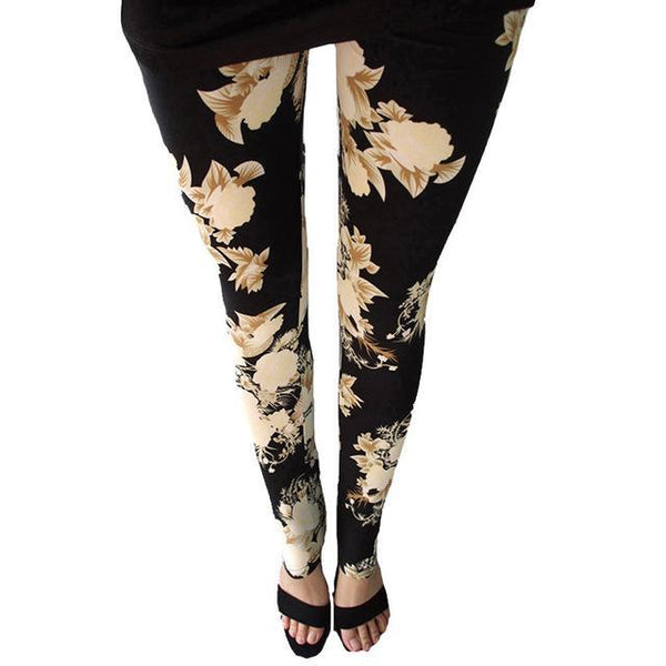 PINkart-USA Online Shopping Big yellow flower / One Size Rose Flower Printed Leggings Fashion Best Quality Women Lady Slim High Elastic Cotton Pants