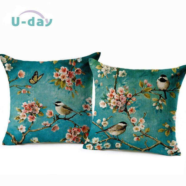 PinKart-USA Online Shopping Birds Cushion Home Car Decorative Pillows Butterfly Almofada /Coussin / Linen Cojines Decoration
