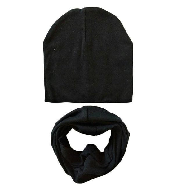 PINkart-USA Online Shopping black 1 Set Cotton Baby Hat Scarf Solid Color Children Caps Scarves Autumn Winter Kids Boys Girls O Ring