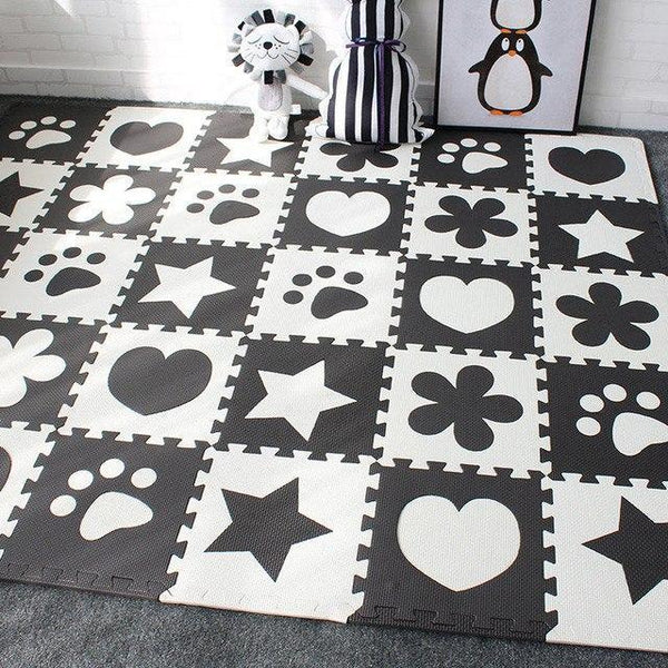 PINkart-USA Online Shopping Black 10Pcs Baby Play Mat In Nursery Eva Foam Childrens Carpet With Border Puzzle Mat For Borns