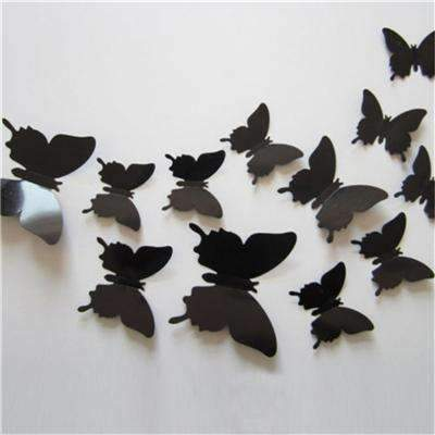 PinKart-USA Online Shopping Black 12 Pcs/Lot Pvc Butterfly Decals 3D Wall Stickers Home Decor Poster For Kids Rooms Adhesive To Wall