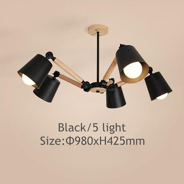 PINkart-USA Online Shopping Black 6 light Lustre Led Chandelier For Living Room Hanging Lights Lustres Para Sala De Jantar Lampshade Wood