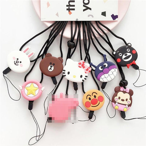 PINkart-USA Online Shopping Black bear Cartoon Cute Hello Kitty Popular Neck Strap For Keys Id Card Mobile Phone Straps For Iphone 7 8 X