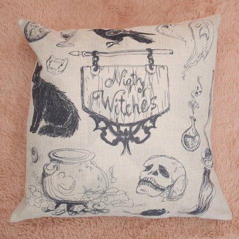 PINkart-USA Online Shopping Black Cat Pillow Cases Halloween Ghost Pillowcase Cotton Skull Cushion Cover 45*45Cm