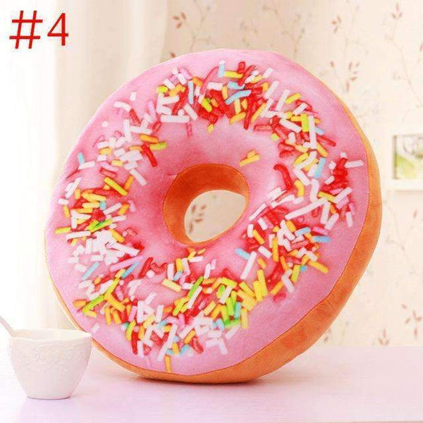 PinKart-USA Online Shopping Black Cute Donuts Pillow Chocolate Donuts Plush Macaron Food Cushion Nice Bottom Cushion Nap Pillow