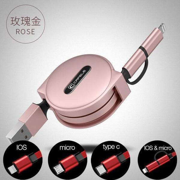 PinKart-USA Online Shopping black / For micro 4 Style 100Cm Retractable USB Fast Charging Cable For Iphone X 8 7 5S 6S Plus Micro Type-C