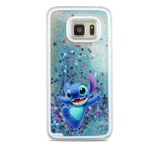 PinKart-USA Online Shopping Black For Samsung Galaxy S7 Case Cute Stitch Mickey Shining Liquid Quicksand Mobile Phone Case Cover