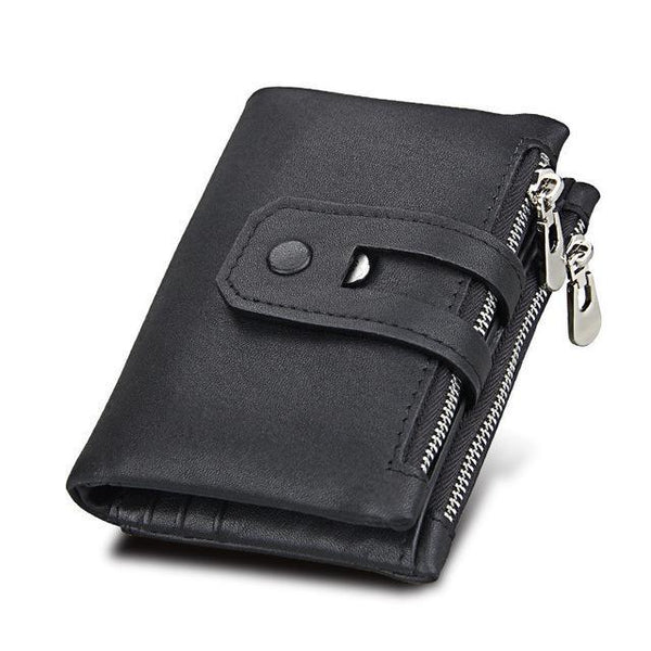 PINkart-USA Online Shopping Black Hot!! Genuine Leather Men Wallet Small Men Wallets Double Zipper&Hasp Male Portomonee Short Coin