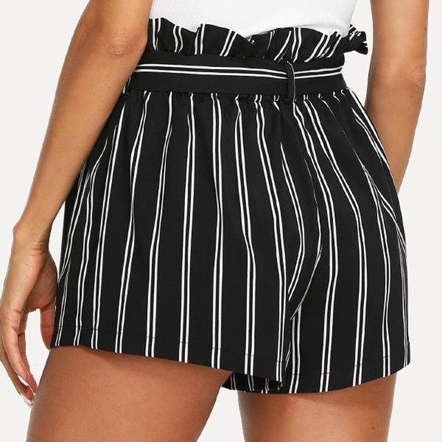 PINkart-USA Online Shopping Black / L / China New Arrival Summer Women Polyester Retro Stripe Casual Fit Elastic Waist Pocket Shorts With String