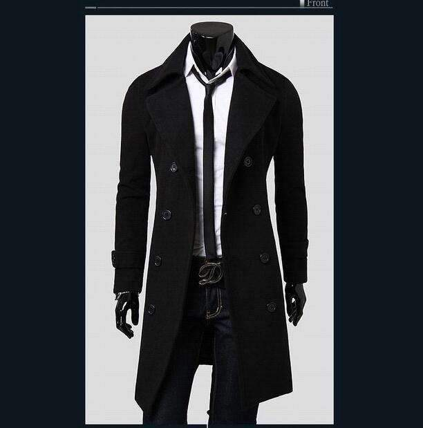 PinKart-USA Online Shopping Black / L European Style Double Breasted Coat Lengthened Simple Luxury Wool Coat Male