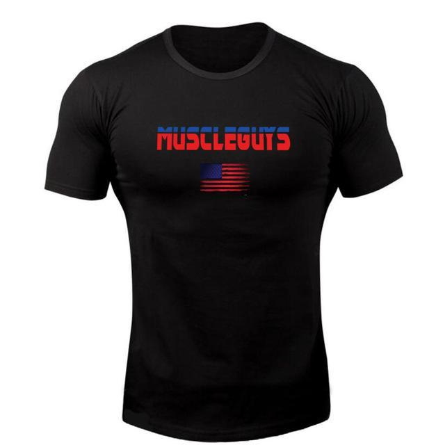 PINkart-USA Online Shopping Black / L Muscle Guys Brand T Shirt Mens Cotton Fitness Crossfit T Shirt American Gyms T-Shirt Bodybuilding