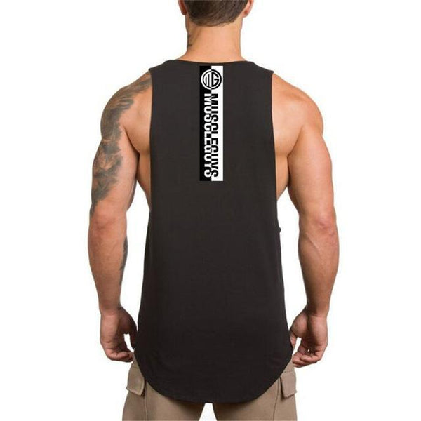PINkart-USA Online Shopping Black / L Muscle Guys Fitness Tank Top Men Bodybuilding Clothing Men Sleeveless Shirt Golds Vests Cotton Gyms