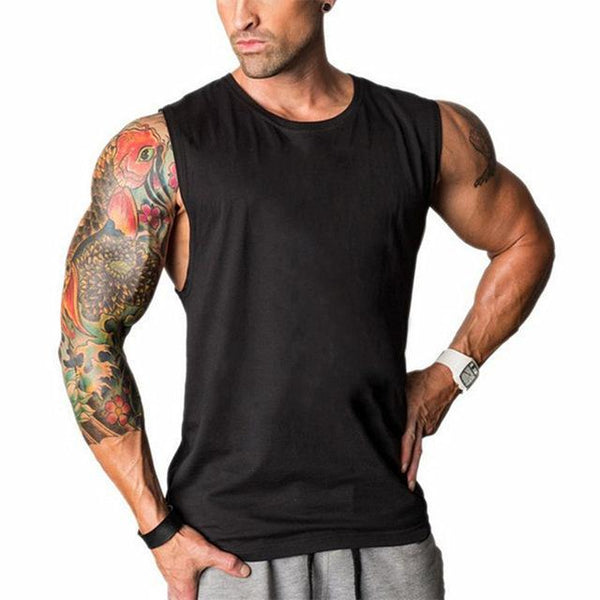 PINkart-USA Online Shopping Black / L Muscle Guys Sleeveless Shirt Bodybuilding Clothing And Fitness Men Undershirt Solid Tank Tops Blank