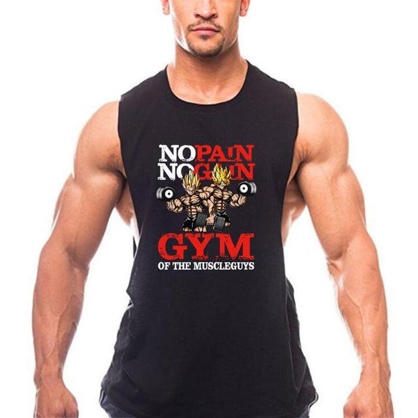 PINkart-USA Online Shopping Black / L New Brand Clothing Bodybuilding Fitness Men Gyms Tank Top Golds Vest No Pain No Gain Cotton
