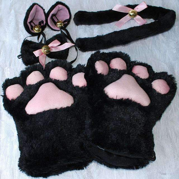 PinKart-USA Online Shopping Black / One Size 1 Set Anime Cosplay Costume Gloves Sweet Cat Ears Plush Paw Claw Gloves Tail Bow-Tie Halloween