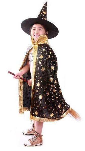 PinKart-USA Online Shopping Black / One Size / Wizard Cloak Boy Girl Kids Children Halloween Costumes Witch Wizard Cloak Gown Robe With Hat Cap Stars Fancy