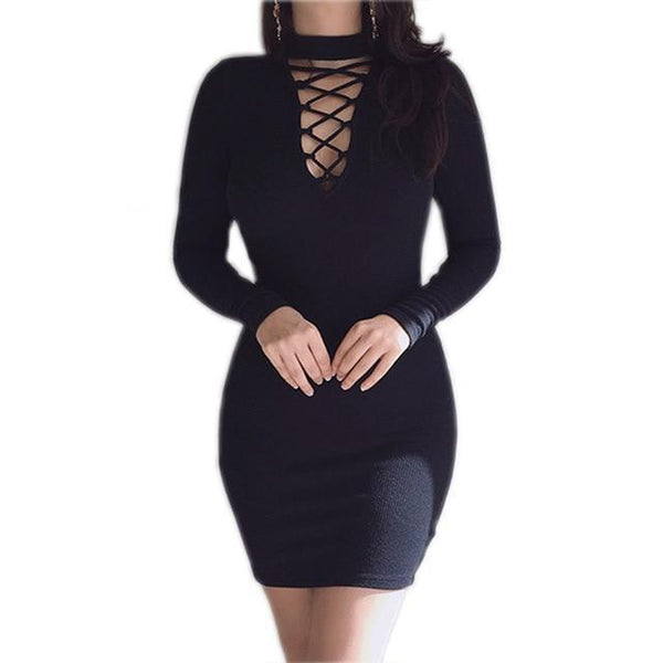 PINkart-USA Online Shopping Black / S Autumn Winter Women Mini Dresses Stretch Zipper Bodycon Dress Long Sleeve V-Neck Knit Dress Party