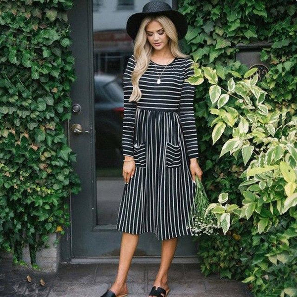 PINkart-USA Online Shopping Black / S Autumn Women Dress Casual Long Sleeve Striped Midi Dress Elegant Ladies Loose Straight Dresses With