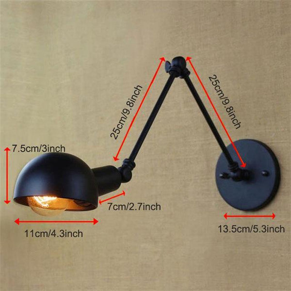 PINkart-USA Online Shopping Black Type A Vintage Loft Industrial Adjustable Sconce Wall Lights For Bedroom Long Swing Arm Flexible Wall