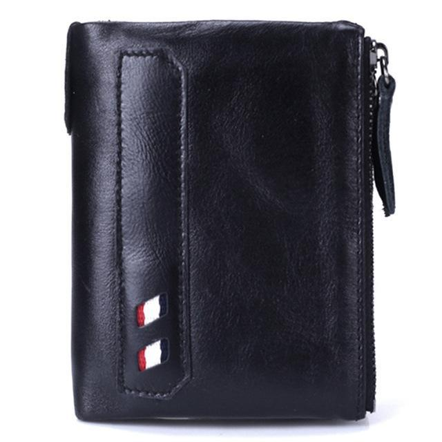 PINkart-USA Online Shopping Black Vintage Genuine Cow Leather Men Wallet Coin Purse Wallets With Coin Pocket Dual Zipper Short Small