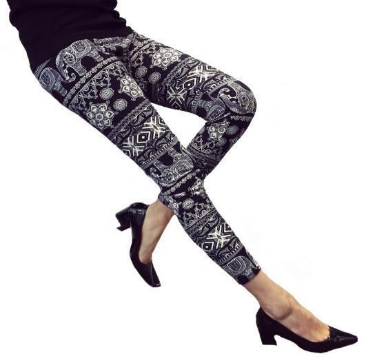 Rose Flower Printed Leggings Fashion Best Quality Women Lady Slim High Elastic Cotton Pants