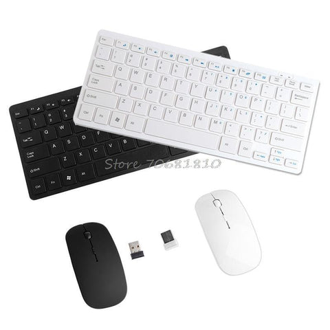 PINkart-USA Online Shopping Black Wireless 2.4Ghz Mini Keyboard Ultra-Thin Mouse Combo Set For Desktops Laptops