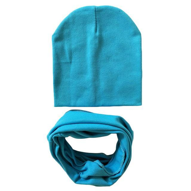 PINkart-USA Online Shopping blue 1 Set Cotton Baby Hat Scarf Solid Color Children Caps Scarves Autumn Winter Kids Boys Girls O Ring