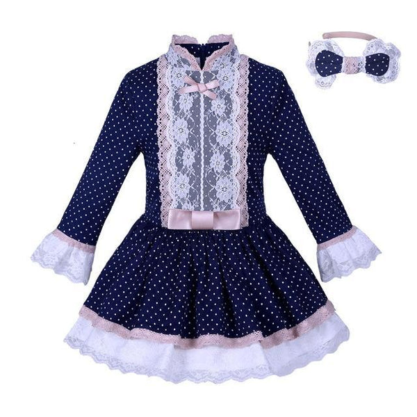 PINkart-USA Online Shopping Blue / 10 Pettigirl Navy Girls Dress With Lace Sash Polka Dots Dresses Vintage Boutique Spring Autumn