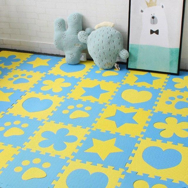 PINkart-USA Online Shopping Blue 10Pcs Baby Play Mat In Nursery Eva Foam Childrens Carpet With Border Puzzle Mat For Borns