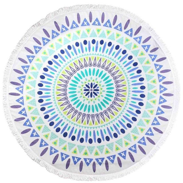 PinKart-USA Online Shopping Blue / 150cm Round 100% Cotton Round Beach Towel 150Cm/59'' Round Bath Towel Tassel Decor Geometric Printed Bath Towel