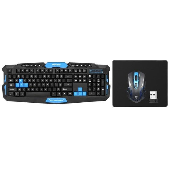 PINkart-USA Online Shopping Blue 2.4Ghz Wireless Gaming Keyboard Mouse Combo 19Key Anti-Ghosting Adjustable Dpi Usb Receiver Adapter