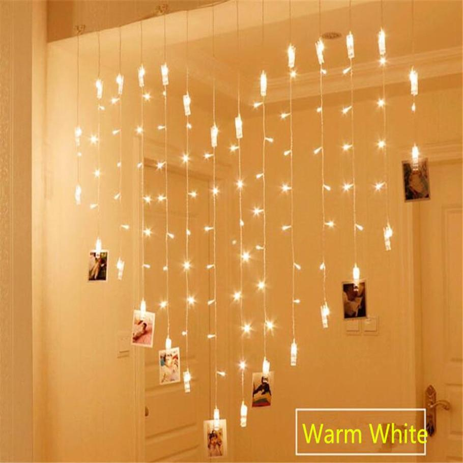 PINkart-USA Online Shopping Blue / 220V Ac220V 2X1.5M Heart Shape 128Led 34 Lamp Clips Photo String Lights Holiday Light Christmas