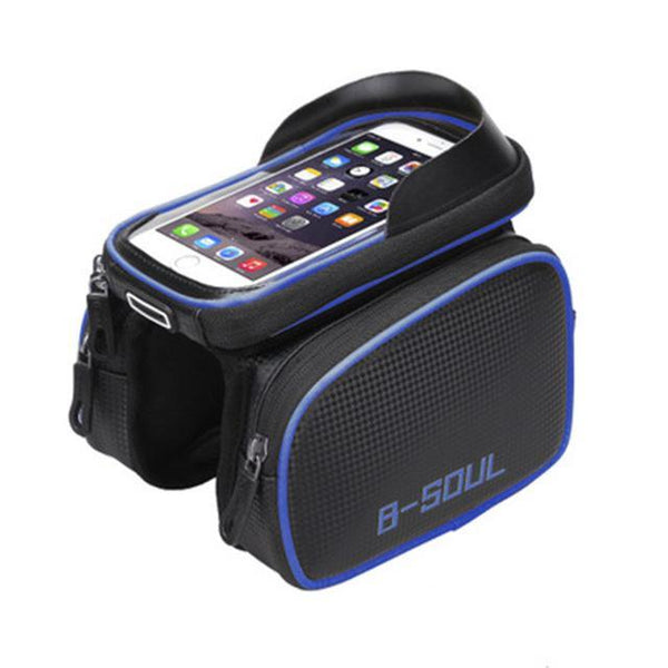 B-Soul Waterproof Bicycle Frame Front Bag Touch Screen Head Top Tube Double Pouch Bike Bag 6.2 Inch
