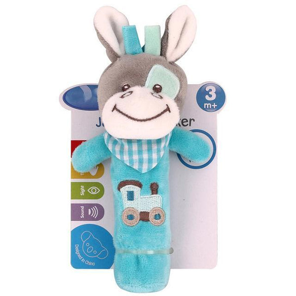 0-12 Months Born Bb Sticks Plush Baby Toys Soft Dog Cattle Doll Baby Rattle Colorful Infant