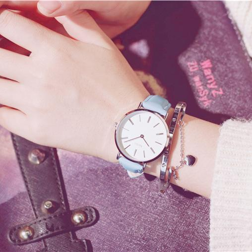 PINkart-USA Online Shopping Blue Fashion Casual Wild Watches Women Simple Scale Ladies Wristwatches Classic Quartz Leather Female