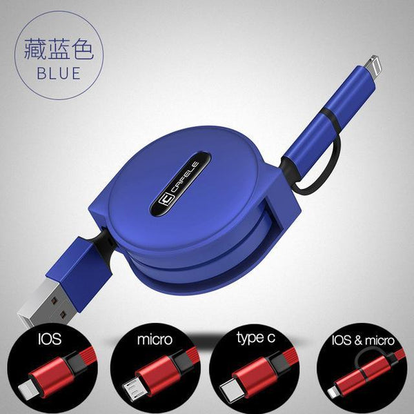 PinKart-USA Online Shopping blue / IOS micro 2 in 1 4 Style 100Cm Retractable USB Fast Charging Cable For Iphone X 8 7 5S 6S Plus Micro Type-C