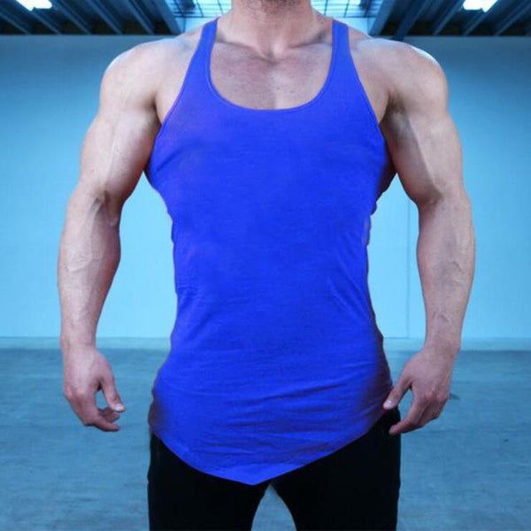 PINkart-USA Online Shopping Blue / L Brand Blank Clothing Solid Vest Men Bodybuilding And Fitness Men Undershirt Gyms Stringer Tank Top
