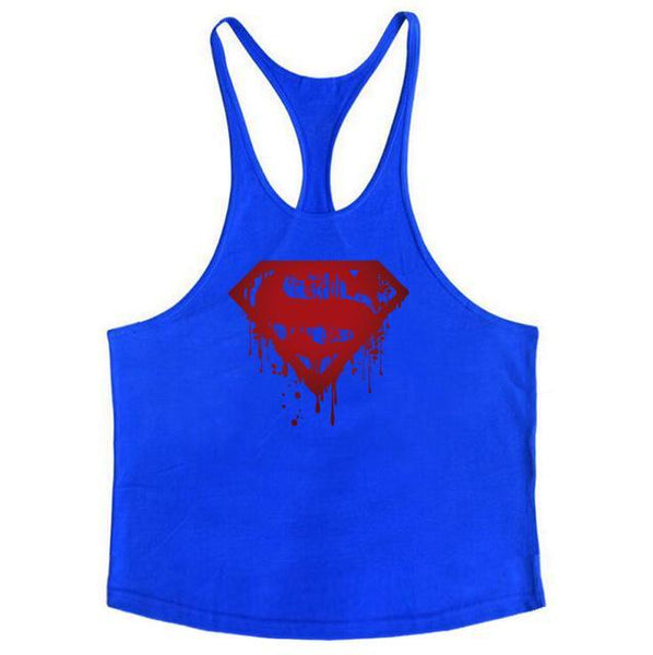 PINkart-USA Online Shopping Blue / L Fitness Bloody Superman Cotton Mens Tank Tops Bodybuilding Stringer 1Cm Shoulder Strap Gyms Vest