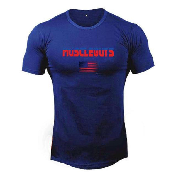 PINkart-USA Online Shopping Blue / L Muscle Guys Brand T Shirt Mens Cotton Fitness Crossfit T Shirt American Gyms T-Shirt Bodybuilding