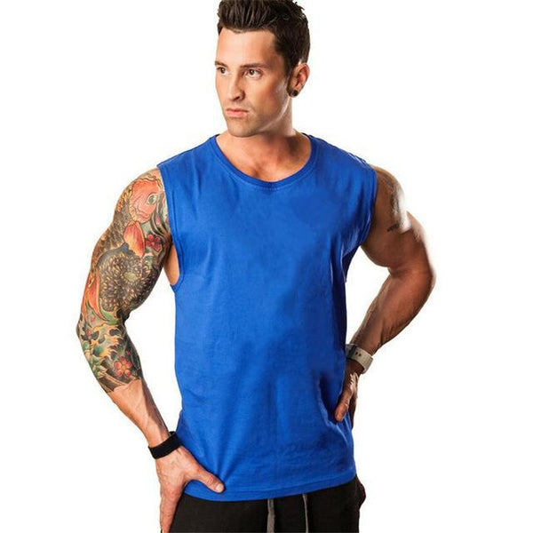 PINkart-USA Online Shopping Blue / L Muscle Guys Sleeveless Shirt Bodybuilding Clothing And Fitness Men Undershirt Solid Tank Tops Blank