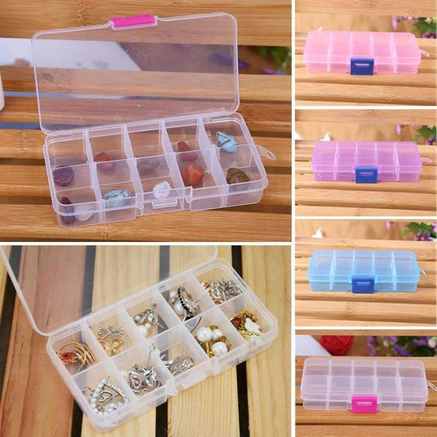PinKart-USA Online Shopping Blue May 25 Mosunx Business 10 Grids Adjustable Jewelry Beads Pills Nail Art Tips Storage Box Case