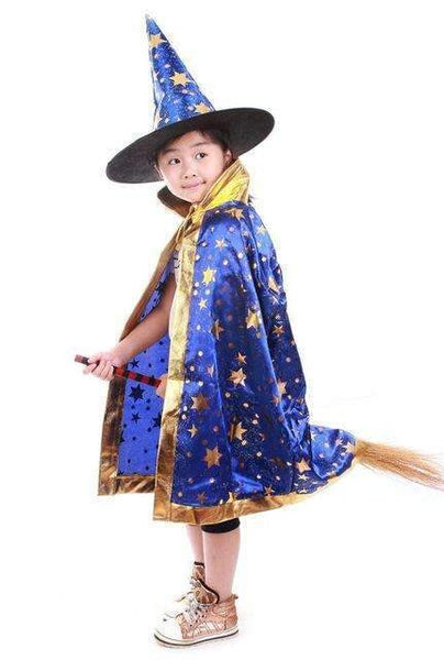PinKart-USA Online Shopping Blue / One Size / Wizard Cloak Boy Girl Kids Children Halloween Costumes Witch Wizard Cloak Gown Robe With Hat Cap Stars Fancy