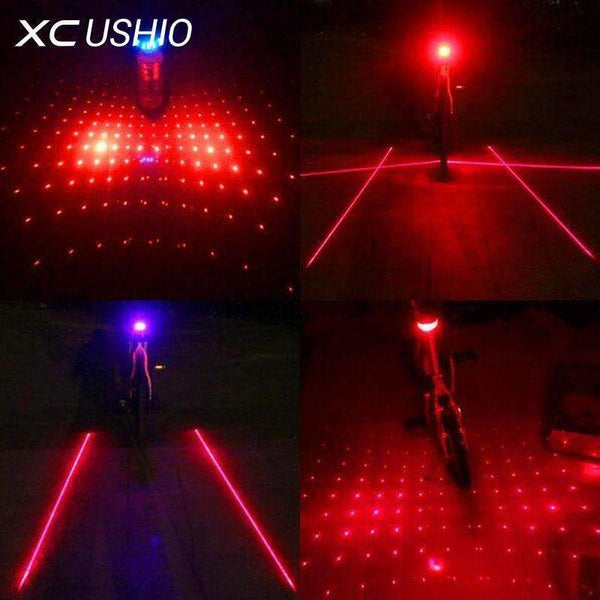 PinKart-USA Online Shopping blue parallel 5 Led Laser Beam Mtb Mountain Bicycle Bike Rear Tail Warning Lamp Light