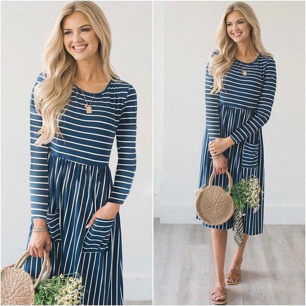PINkart-USA Online Shopping Blue / S Autumn Women Dress Casual Long Sleeve Striped Midi Dress Elegant Ladies Loose Straight Dresses With
