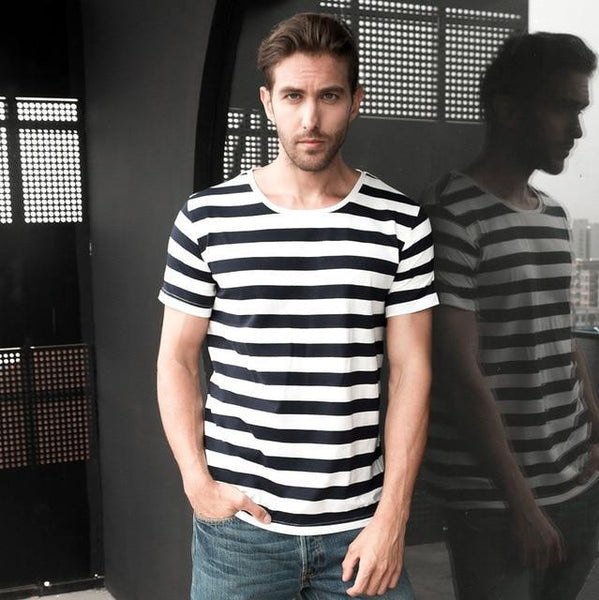 PINkart-USA Online Shopping Blue / S Navy Striped Sailor T-Shirt Men Summer Black And White Striped Loose T Shirt Men Horizontal Sea