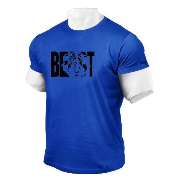 PINkart-USA Online Shopping Blue / XL Brand Clothing Fitness Beast Printed T Shirt Men Cotton O-Neck T-Shirt Muscle Bodybuilding Tee