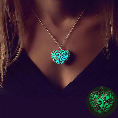 PINkart-USA Online Shopping Bohemia Silver Color Luminous Stone Heart Pendant Necklace Fashion Women Halloween Hollow