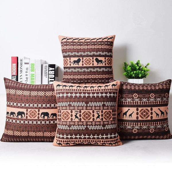 PinKart-USA Online Shopping Bohemian Style Cushion Cover Set Passionate Elephant Floral Printed African Style Throw Cushion