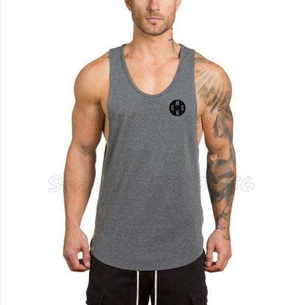 PINkart-USA Online Shopping Brand Clothing Gyms Stringer Tank Tops Mens Sleeveless T Shirts Man Summer Cotton Bodybuilding