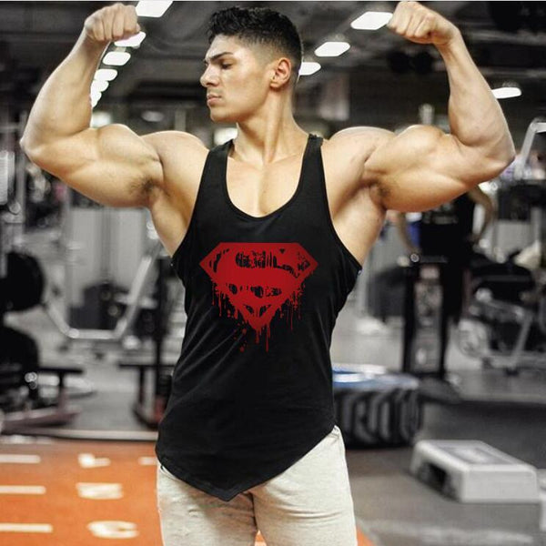 PINkart-USA Online Shopping Brand Superman Clothing Summer Tank Top Men Fitness Singlets Gyms Stringer Bodybuilding Sleeveless